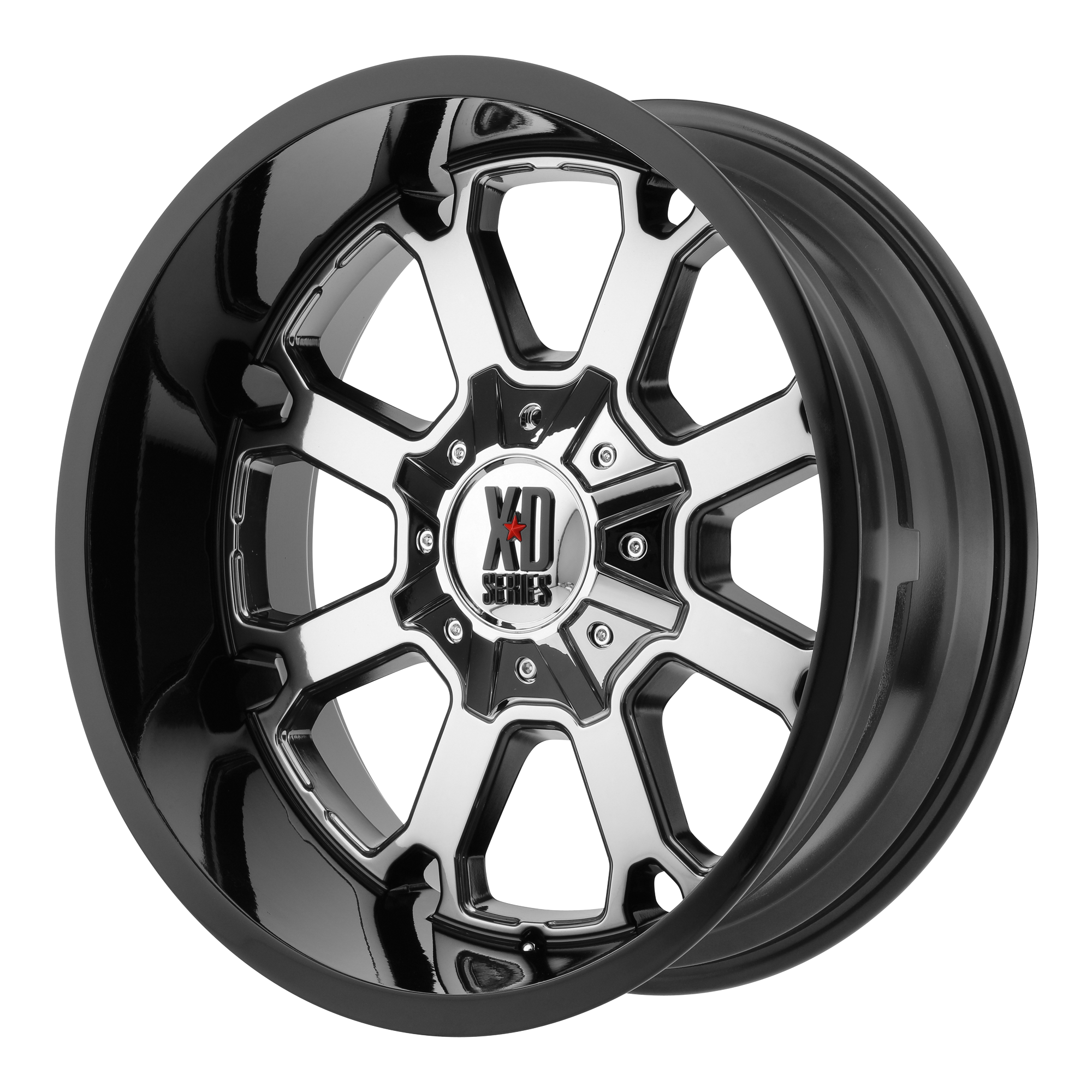 XD SERIES BY KMC WHEELS XD825 BUCK 25 PVD Center With Gloss Black Lip