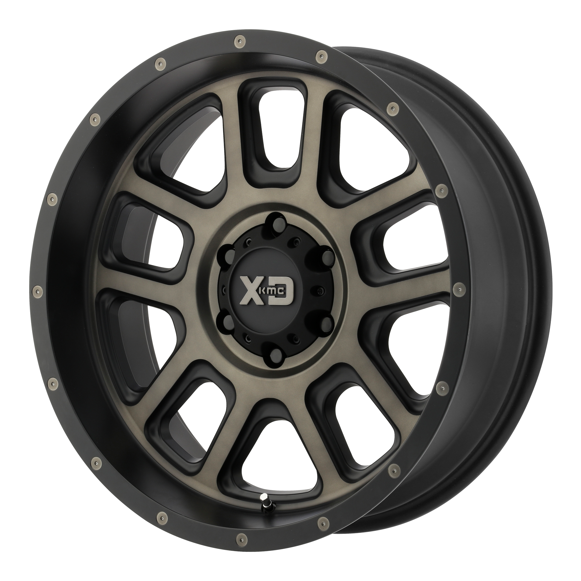 XD SERIES BY KMC WHEELS XD828 DELTA Matte Black w/ Dark Tint Clear